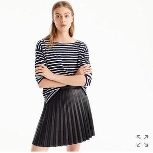 J Crew faux-leather pleated mini skirt